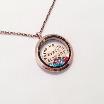 "Pink Floyd ""Shine On You Crazy Diamond"" Floating Charm Locket Necklace, Hand Stamped"