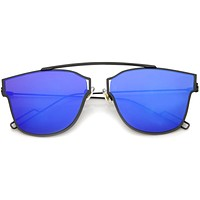 Modern Flash Mirror Flat Lens Thin Wire Frame Sunglasses A384