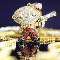Iced Out Baby Cartoon Character with Gun Pendant Box Chain