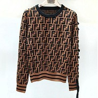 FENDI Trending Women Casual F Letter Jacquard Knit Bow Bind Round Collar Sweater Pullover Top Coffee
