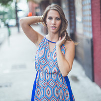 Abstract Diamond Sundress in Royal