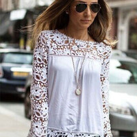 Floral Crochet Lace Long Sleeve Chiffon Blouse