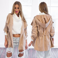 Stylish Lady Women's Long Coat Trench Windbreaker Hoodies Outwear VVF [7672033862]