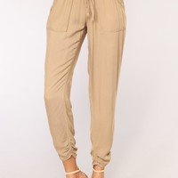 Lindsey Linen Joggers - Taupe