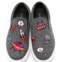 Allover Icons Patched Slip On Sneakers