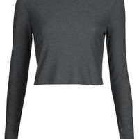 Long Sleeve Skinny Rib Crop Top - Charcoal