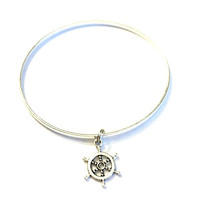 Silver Ship's Steering Wheel Charm Alex and Ani Inspired Stackable Bangle Bracelet