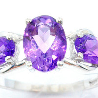 2 Carat Amethyst Oval Ring .925 Sterling Silver Rhodium Finish White Gold Quality