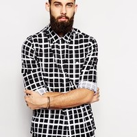 ASOS Shirt In Long Sleeve With Handrawn Check
