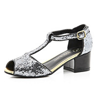 River Island Girls grey glitter block heel shoes