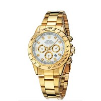 Rolex Trending Women Men Stylish Personality Quartz Watch Couple Wristwatch Golden Watchband+White Dial I-YY-ZT