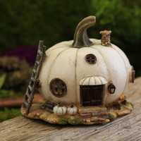 White Pumpkin Fairy House - My Fairy Gardens