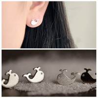 Sweet Little Whale Ear Stud Earrings For Women