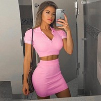 Women Summer Blue Knit Crop Top V-Neck Short Sleeve and Mini Bodycon Skirt Casual Women Outfit Sexy
