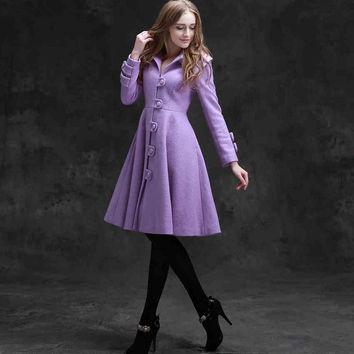 Women's Winter Original Classical Literary Vintage Turn Down Collar Long Sleeve Single Breasted Dress Wool Coat WQ0009 Boho Chic