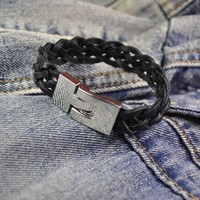Great Deal Stylish Awesome New Arrival Gift Shiny Hot Sale Men Leather Black Accessory Bracelet [6526732739]