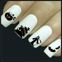 Halloween Nail Decal 20 Ghost Nail Art Water Slide Decals Fingernail Decal Haunting Nail Tattoos Nail Transfers