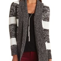 Marled Stripe Open Cardigan Sweater by Charlotte Russe - Taupe Combo