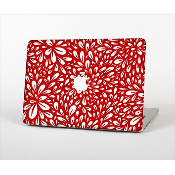 """The Bright Red and White Floral Sprout Skin Set for the Apple MacBook Air 13"""""""