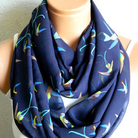 Nomad Tube Infinity Scarf ,Navy Blue, bird pattern,chiffon fabric  Loop Infinity Scarves. Circle Scarf ,Womens Accessories.