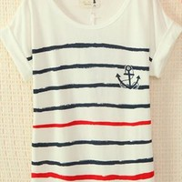 Navy Style Cute Strips T-shirt VRF324 from topsales