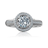 0.75 CT. Intensely Radiant Round Diamond Veneer Cubic Zirconia with Halo Floating Micro Pave Engagement/Wedding Sterling Silver Ring. 635R4001