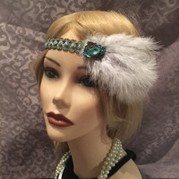 1920s Goddess Blue Green Gold Turquoise Crystal Art Deco Gatsby Soft Blue Feather Flapper Headband Head Piece 1920s Gypsy Boho Satin (705)