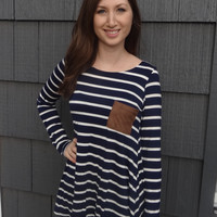 Long Striped Suede Patch Top - Navy