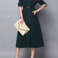 Dark Green Button-Up Long Sleeve Midi Dress