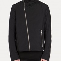 C004 Dislocated Shoulder Funnel Neck Jacket in Black - SS15 Thamanyah