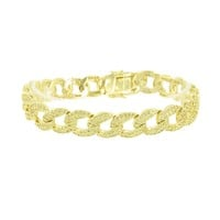 Miami Cuban Link Bracelet Canary Lab Diamonds 14K Yellow Gold Finish