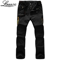 LOMAIYI Removable Legs Men Casual Pants 2017 Summer Fashion Male Sweatpants Amy Green Thin Trousers Khaki Mens Cargo Pants,AM096