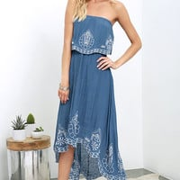 Honored Tradition Denim Blue Strapless High-Low Dress