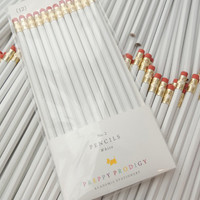 White Pencils, set of 12, Preppy School Supplies