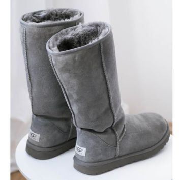 """UGG"" Women Fashion Wool Snow Boots simple high long boots Grey"
