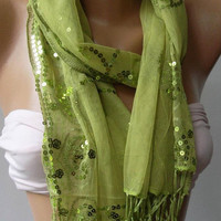 womann Tulle scarf - Elegant Scarf   Tulle Scarf...Green