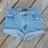 High Waisted Denim Shorts Cutoffs - Cuff or Uncuff - Jeans Shorts Size M or US 6/7