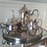 Antique silverplate tea set, silver tea pot, sugar, creamer, and W.M. Rogers tray. Wedding gift, Victorian style silverplated tea service