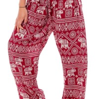 Red Classic Elephant Harem Pants