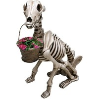 Spooky Skel -A- Dog Sculpture - Funny Skeleton Garden Statue - Exclusive From What On Earth