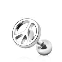316L Surgical Steel Cartilage Earring with Peace Sign