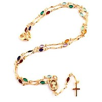 Gold Overlay Rosary Cross Pendant and Open Arms Charm with Multicolored Stones 18 Inch Necklace