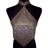 sexy halter neck bling rhinestone top women party club cropped top 2017 beach shinner bustier tank tops flash glitter diamonds