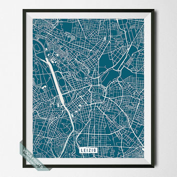 Leipzig Print, Germany Poster, Leipzig Street Map, Germany Map Print, Saxony, Dorm Decoration, Modern Decor, Street Map, Back To School