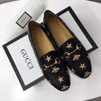 Gucci Jordaan embroidered leather loafer