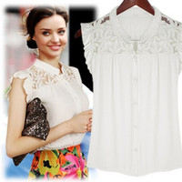 White Floral Lace Accent Ruffle Sleeve Blouse