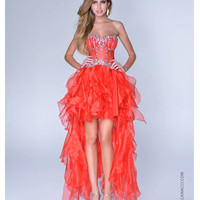 Nina Canacci 2014 Prom Dresses - Red Illusion & Tulle Corset High-Low Prom Dress