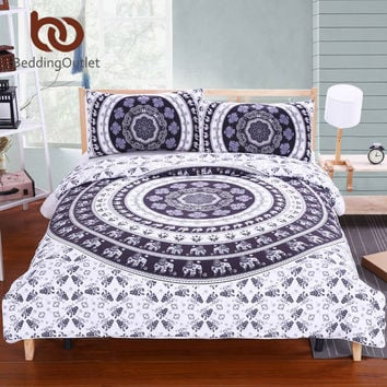 BeddingOutlet Vanitas Bedding Bohemia Modern Bedclothes Indian Home Black and White Printed Quilt Cover 2Pcs or 3Pcs Hot Sale