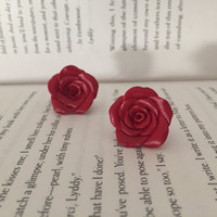 Rose earrings | rose studs| rosy clay earrings | red and yellow roses| Christmas rose earrings | xmas sale