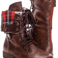 SOLID BROWN FAUX LEATHER LACE UP FOLD OVER COMBAT BOOTS